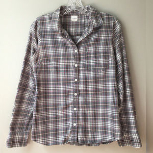 J Crew Button-Up Plaid Long Sleeve Gray/Pink/White